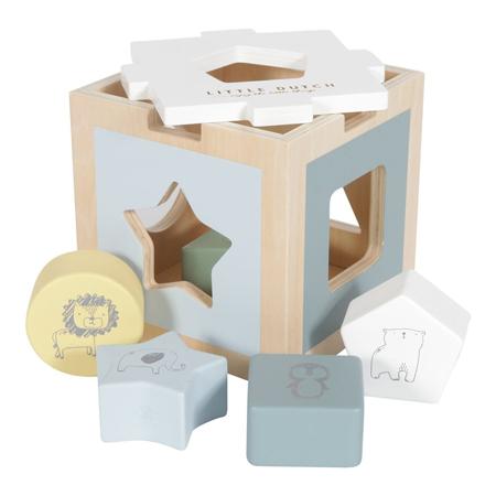 Slika Little Dutch® Didaktična kocka za razvrščanje oblik Zoo Blue