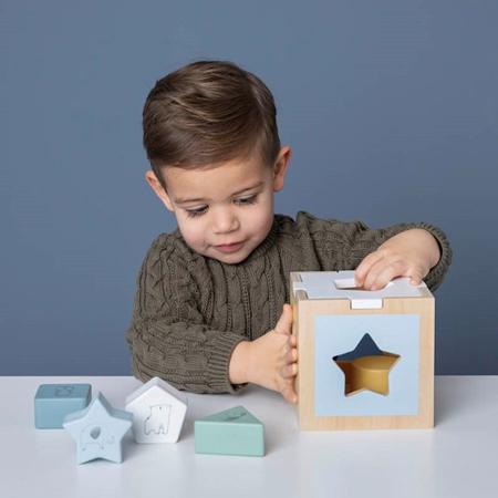 Little Dutch® Didaktična kocka za razvrščanje oblik Zoo Blue