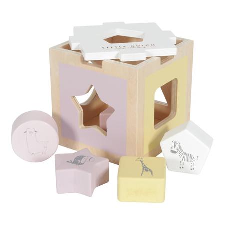 Slika Little Dutch® Didaktična kocka za razvrščanje oblik Zoo Pink