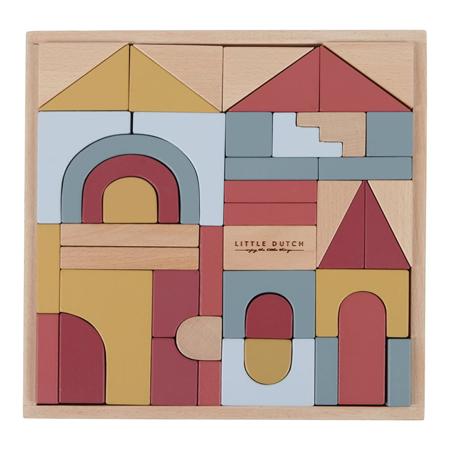 Slika Little Dutch® Lesene kocke za gradnjo Pure & Nature