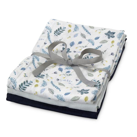 Slika CamCam® Povijalne pleničke Mix Pressed Leaves Blue, Baby Blue, Navy 70x70 3 kosi