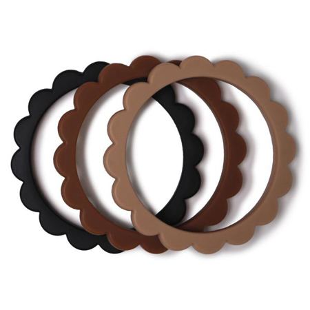 Slika Mushie® Grizalo obroček Black/Caramel/Natural 3 kosi