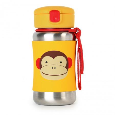 Skip Hop® Steklenička iz nerjavečega jekla s slamico Opica
