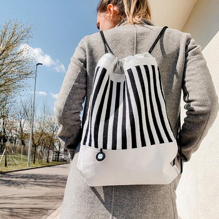 Ksenka® Ročno izdelan nahrbtnik Stripes - Black & White