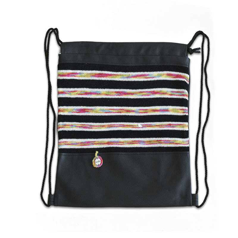 Ksenka® Ročno izdelan nahrbtnik Lines - Black Rainbow