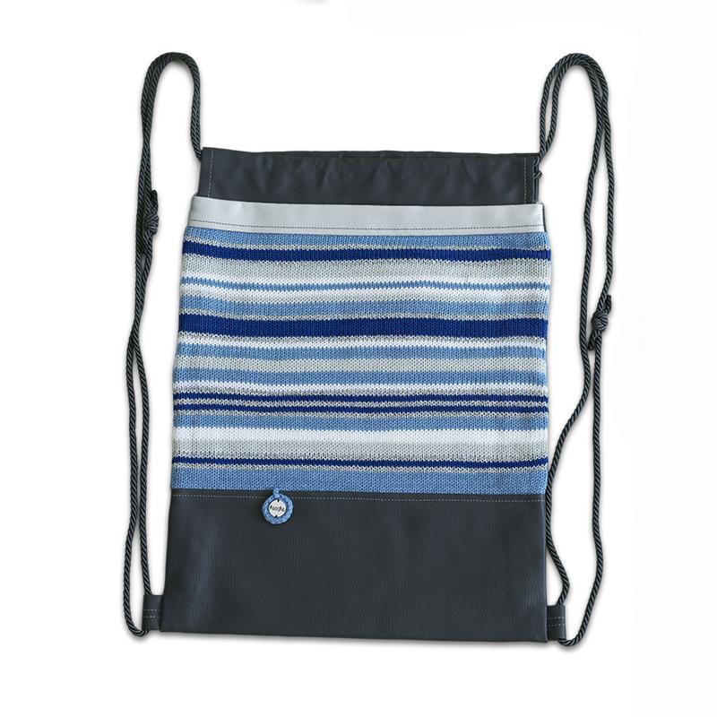 Ksenka® Ročno izdelan nahrbtnik Lines - Grey Blue