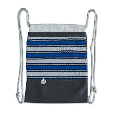 Ksenka® Ročno izdelan nahrbtnik Lines - Grey Blue & White