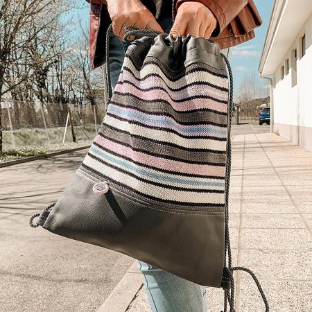 Ksenka® Ročno izdelan nahrbtnik Lines - Grey Beige & Lavander