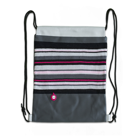 Slika Ksenka® Ročno izdelan nahrbtnik Lines - Grey Bright Pink