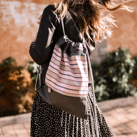 Ksenka® Ročno izdelan nahrbtnik Lines - Grey Light Pink
