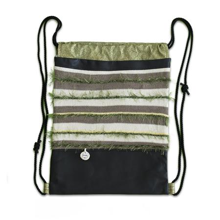 Slika Ksenka® Ročno izdelan nahrbtnik Lines - Black Green
