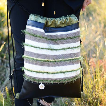 Ksenka® Ročno izdelan nahrbtnik Lines - Black Green