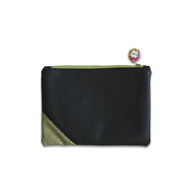 Ksenka® Ročno izdelana toaletna torbica Black & Green