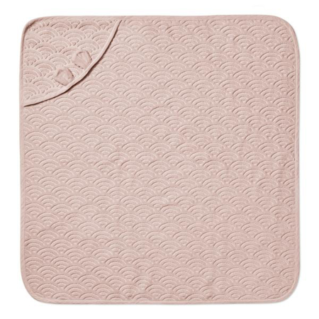 CamCam® Brisača s kapuco in ušesi GOTS Dusty Rose 80x80