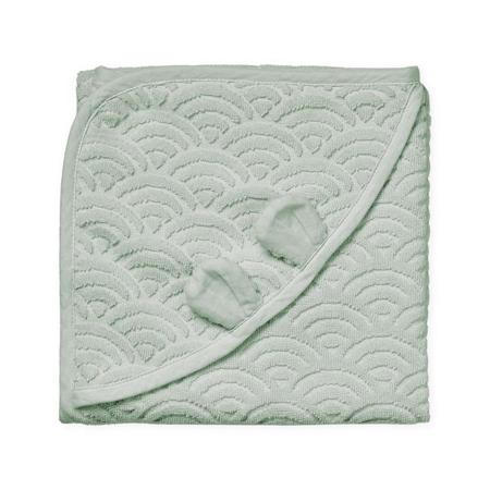 Slika CamCam® Brisača s kapuco in ušesi GOTS Dusty Green 80x80