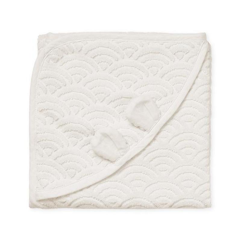 CamCam® Brisača s kapuco in ušesi GOTS Off White 80x80
