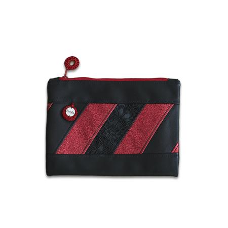 Ksenka® Ročno izdelana toaletna torbica Black & Red