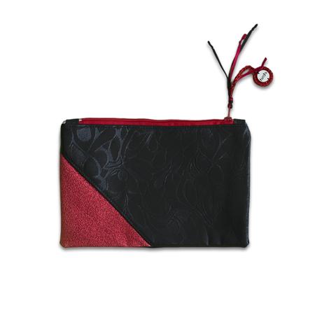 Slika Ksenka® Ročno izdelana toaletna torbica Rustic Black & Red