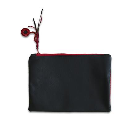 Ksenka® Ročno izdelana toaletna torbica Rustic Black & Red