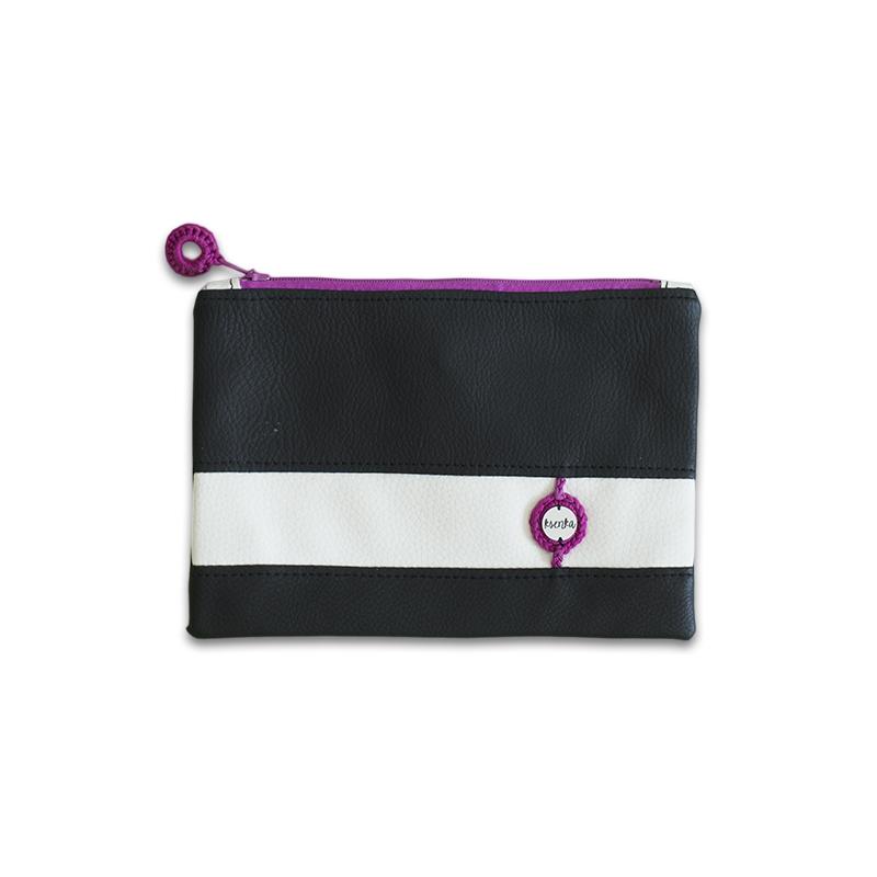 Ksenka® Ročno izdelana toaletna torbica Black & White Pink