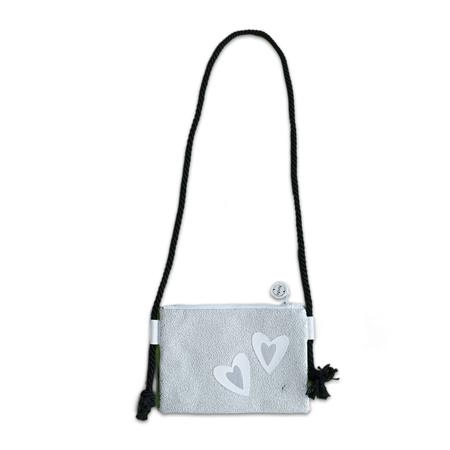Slika Ksenka® Ročno izdelana otroška torbica Hearts Silver