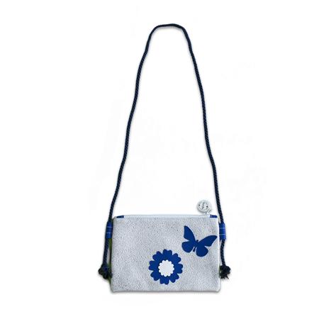 Ksenka® Ročno izdelana otroška torbica Flowers Silver Blue