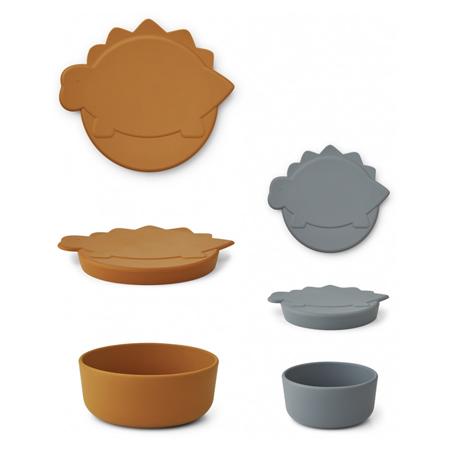 Liewood® Set dveh silikonskih posodic za prigrizke Olav Dino Blue Wave/Mustard Mix