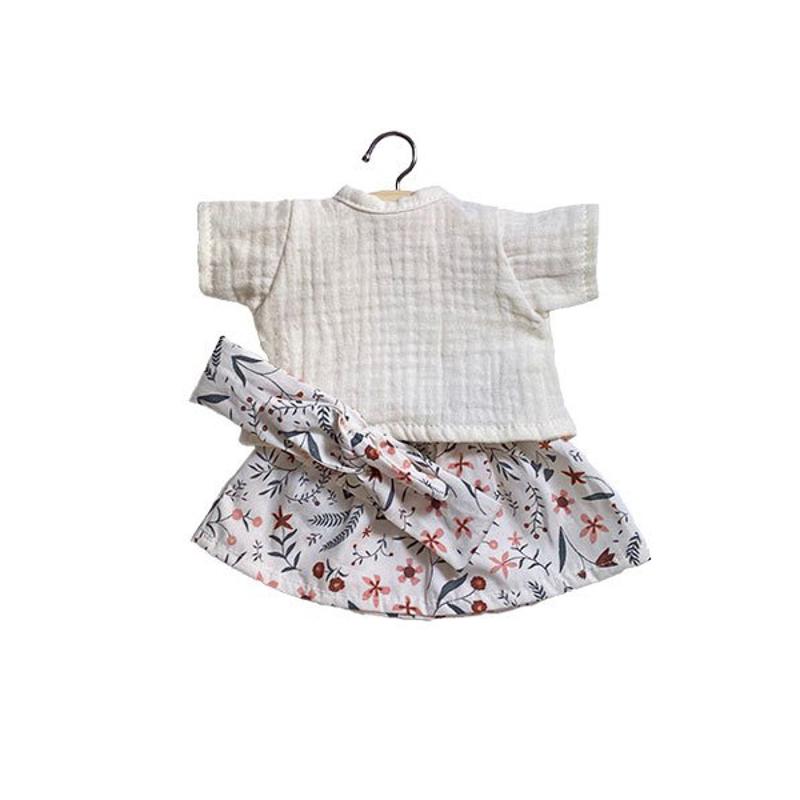 Minikane® Obleka za punčke Réjane Ecru s trakom 34cm