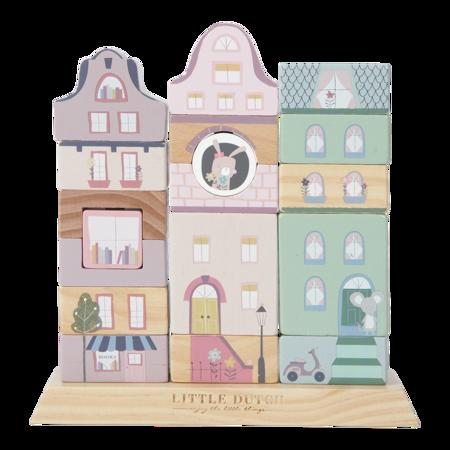 Little Dutch® Lesene kocke za gradnjo Pink