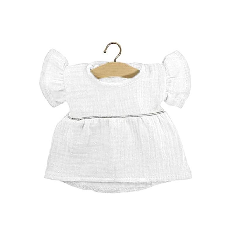 Minikane® Obleka za punčke Daisy White Silver 34cm