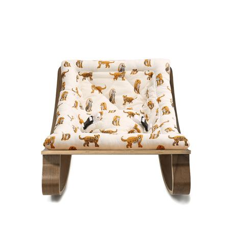 Charlie Crane® Ležalnik in gugalnik za dojenčka LEVO Walnut Jaguar