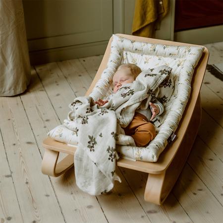 Charlie Crane® Ležalnik in gugalnik za dojenčka LEVO Walnut Hibiscus