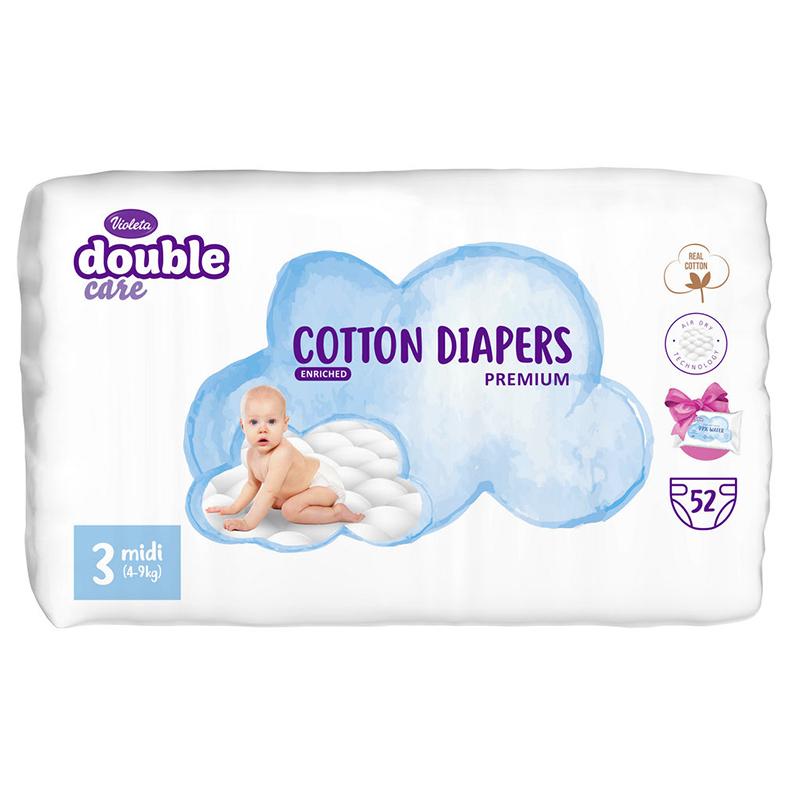 Violeta® Plenice Double Care Cotton Touch 3 Midi (4-9 kg) 52 kosov