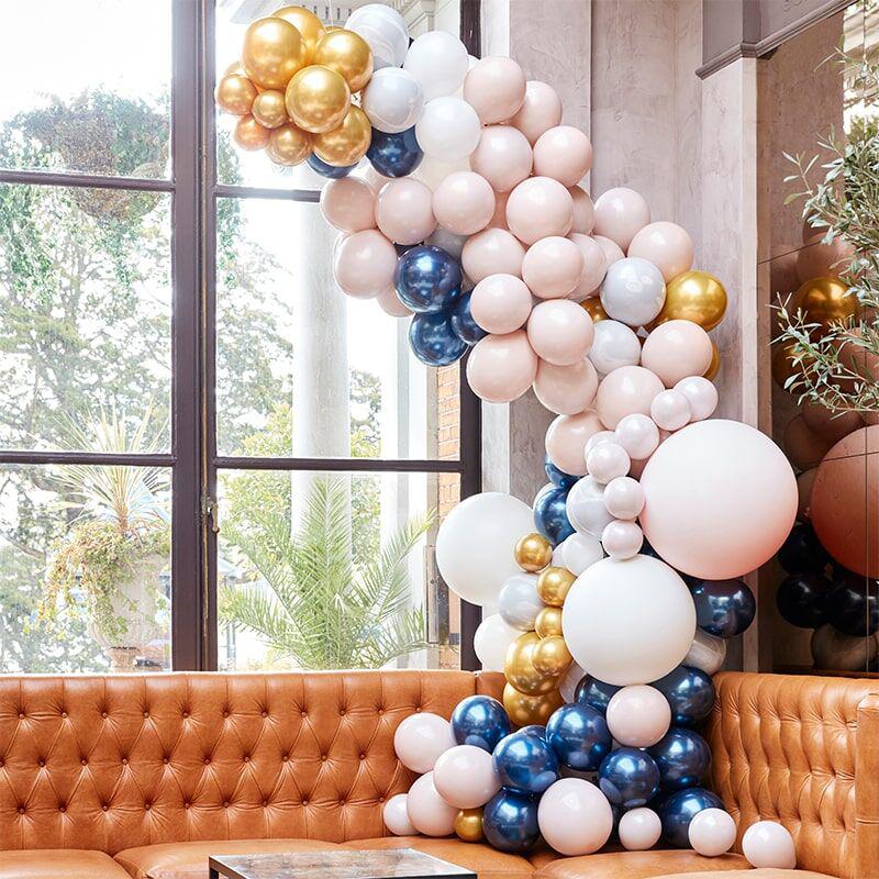 Ginger Ray® Lok iz balonov Luxe Marble, Navy & Gold Chrome