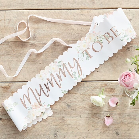 Slika Ginger Ray® Pas Floral Rose Gold Mummy to Be