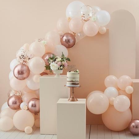 Slika Ginger Ray® Lok iz balonov Peach, White & Rose Gold