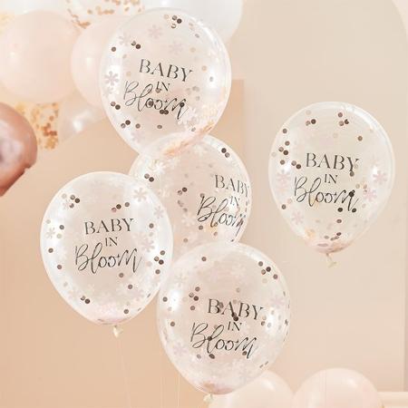 Slika Ginger Ray® Baloni s konfeti Baby in Bloom 5 kosov