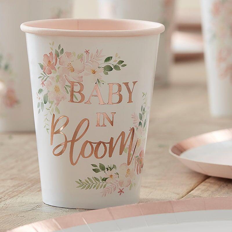 Ginger Ray® Papirnati kozarčki Baby in Bloom 8 kosov