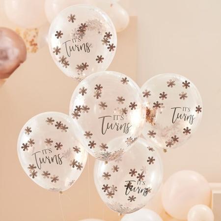 Slika Ginger Ray® Baloni s konfeti It's Twins 5 kosov