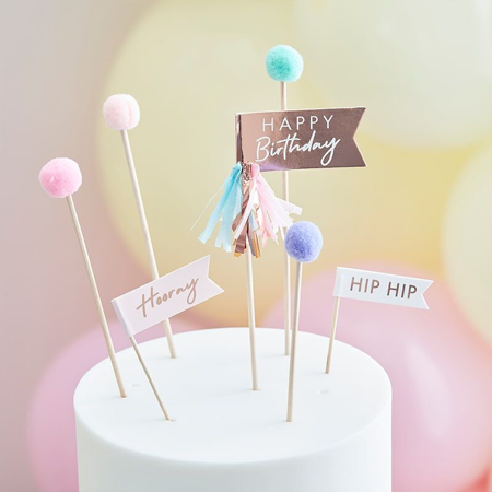 Slika Ginger Ray® Okraski za slaščice Mix It Up Happy Birthday Pom Poms  Pastel 12 kosov