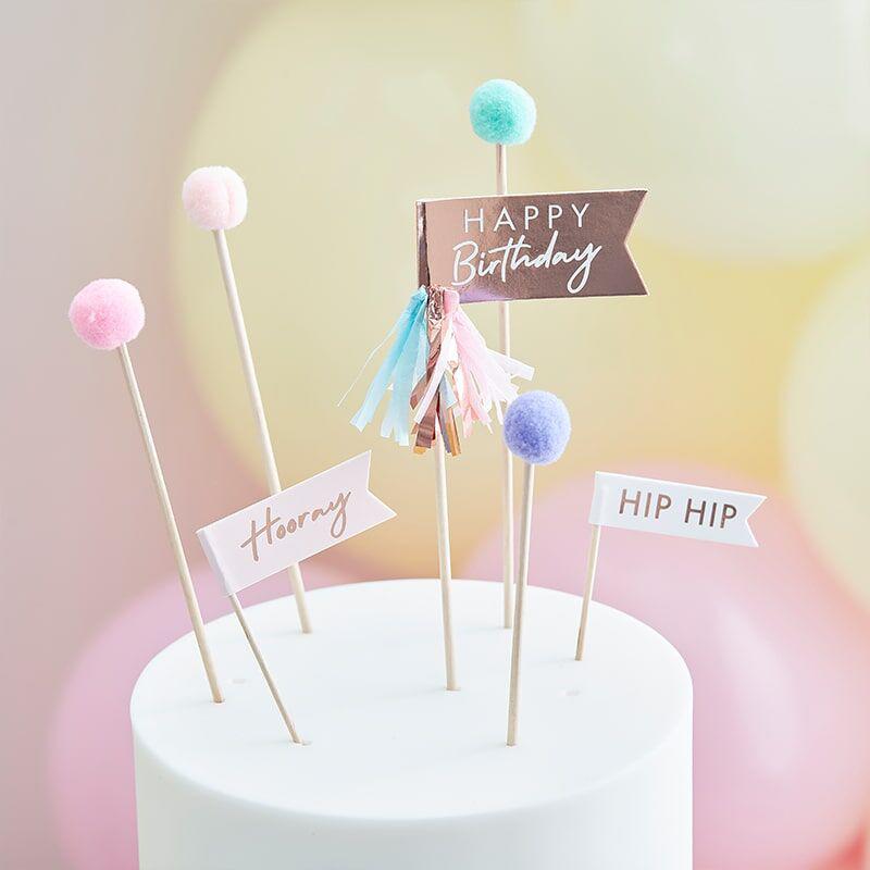 Ginger Ray® Okraski za slaščice Mix It Up Happy Birthday Pom Poms  Pastel 12 kosov