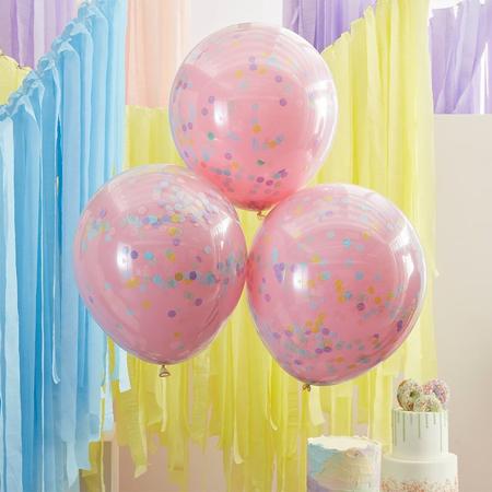Slika Ginger Ray® Baloni s konfeti Double Stuffed Pastel