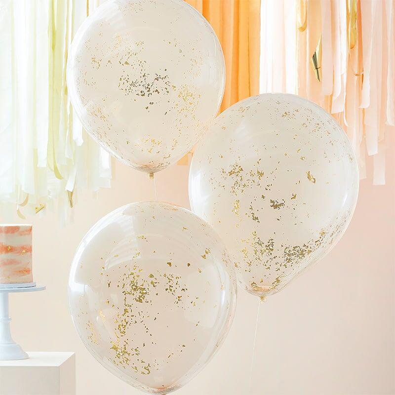 Ginger Ray® Baloni s konfeti Double Stuffed Peach Gold