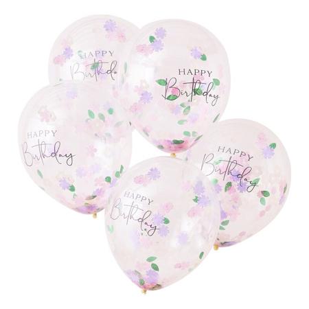 Ginger Ray® Baloni s konfeti Floral Happy Birthday 5 kosov