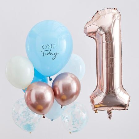 Slika Ginger Ray® Baloni za praznovanje 1. rojstnega dne  Mix It Up Blue and  Rose Gold