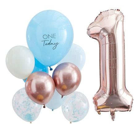Ginger Ray® Baloni za praznovanje 1. rojstnega dne  Mix It Up Blue and  Rose Gold
