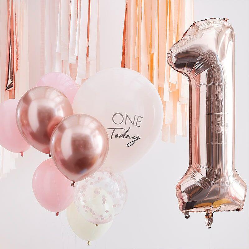 Ginger Ray® Baloni za praznovanje 1. rojstnega dne Mix It Up Pink Rose Gold