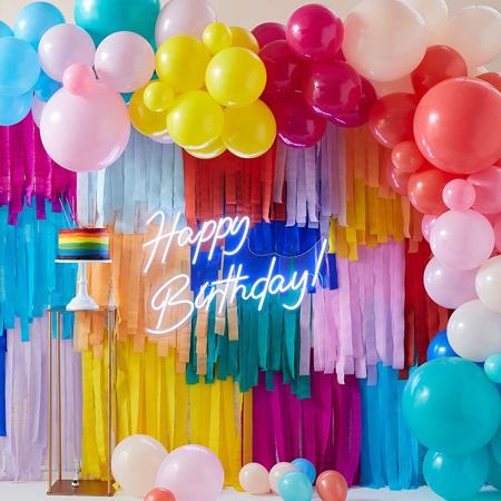 Ginger Ray® Ozadje za fotografiranje z baloni in resicami Mix It Up Brights  Rainbow