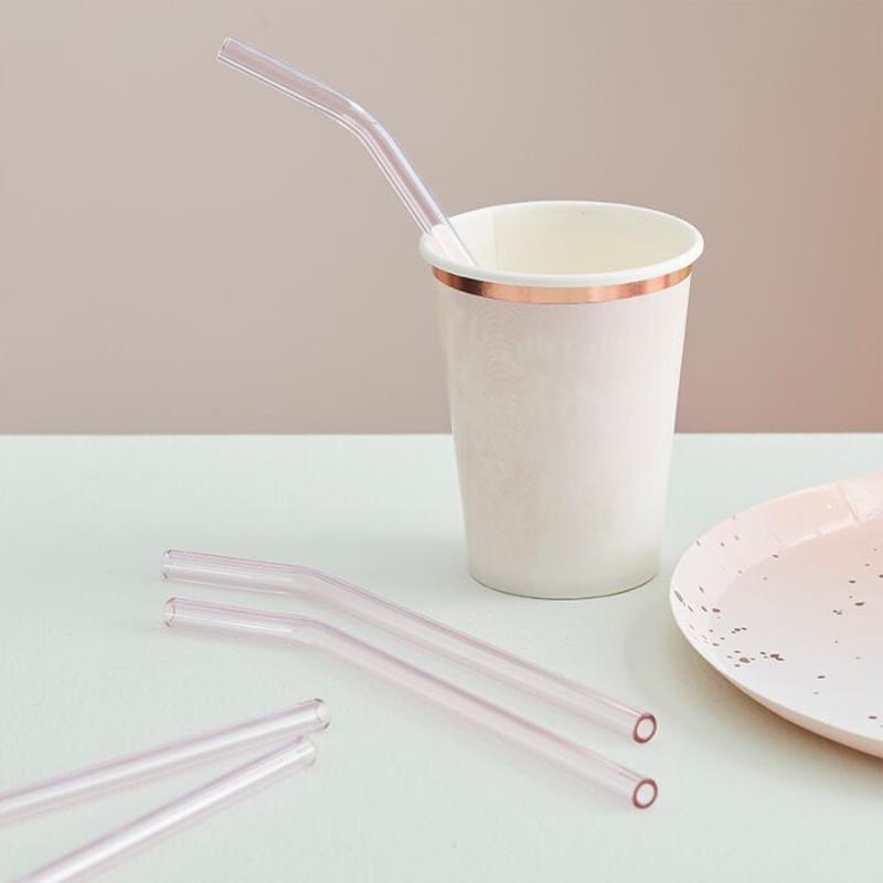 Ginger Ray® Steklene slamice Mix It Up Pink 4 kos