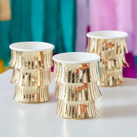 Slika Ginger Ray® Papirnati kozarčki Fringe  Gold 8 kosov